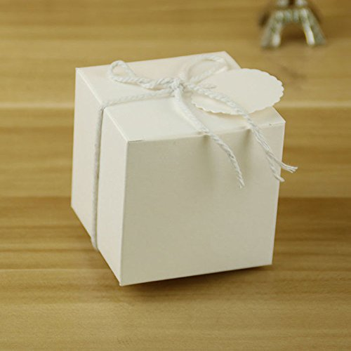 50PCS Kraft Paper Square Candy Sweet Gift Favors Boxes Wedding Party Favor Boxes