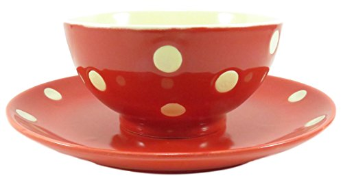Cute Polka Dot Bowl 9 fl oz and Plate Ceramic Red and White (2 Piece Set)