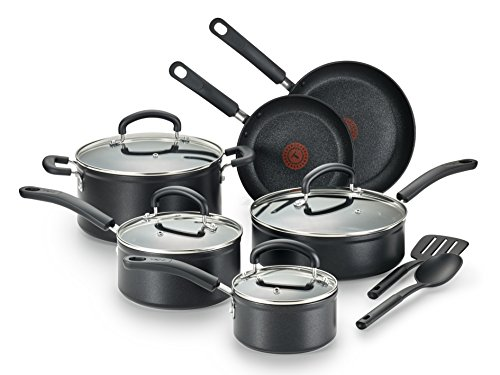 T-fal C561SC Titanium Advanced Nonstick Thermo-Spot Heat Indicator Dishwasher Safe Cookware Set, 12-Piece, Black ()