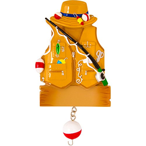 Personalized Fishing Christmas Tree Ornament 2019 - Brown Fisherman Jacket Vest Gone Lake Fish with Line Wood Trapper Farmer Hobby Dad Profession Father Year - Free Customization