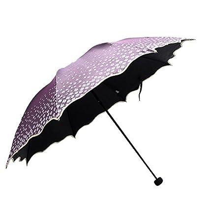 Paraguas plegable automatico Mujer niño Hombre an- Paño cambiante de Color Fluorescente Plegable - Paraguas