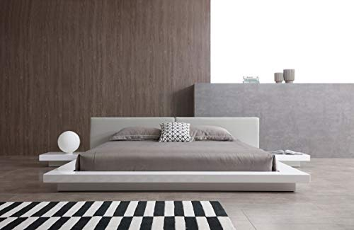 (Limari Home LIM-74179 Caddy Collection Modern Style High Gloss Low Profile Platform Bed, with Leatherette Upholstered Headboard Cushions Eastern King White & Grey)