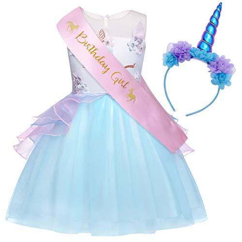 - AmzBarley Unicorn Costume for Little Girls Fancy Party Princess Deluxe Flower Kids Birthday Tutu Dress Halloween with Unicorn Horn Headband and Sash Blue Size 4T