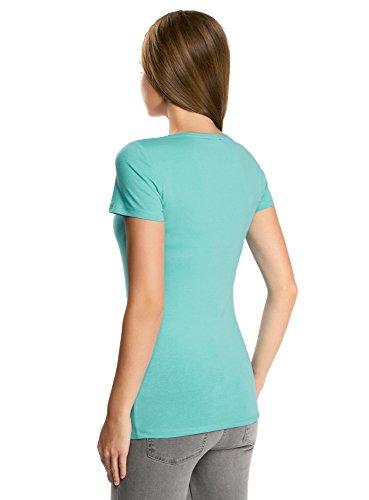 oodji Collection Mujer Camiseta con Decoración de Pedrería Turquesa (7300N)