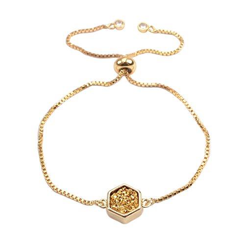 ZENGORI 1Pcs Gold Plated Bezel Hexagon Golden Titanium Druzy Adjustable Bracelet for Women ZG0220-4