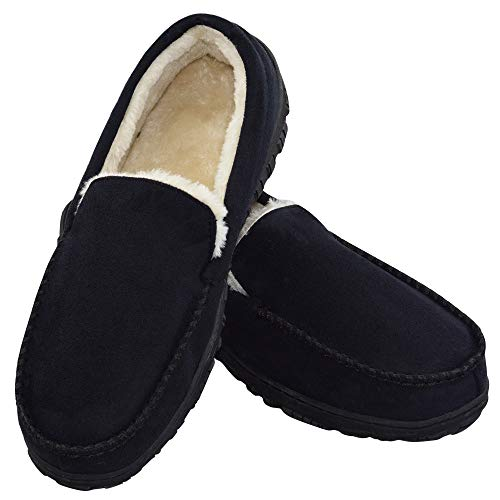 Men's Soft Warm Plush Lined Casual Indoor Outdoor Moccasin Slippers with Anti-Slip Memory Foam US 9 Black (FBA)