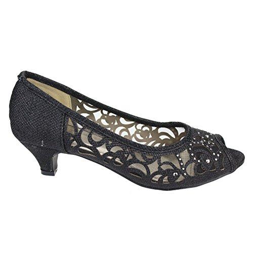 Tarde Señoras Del Tacón Pie Mujeres Las De Dedo Desgaste Bajo Aarz Negro Nupcial Abierto Tribunales Diamante Sandalias Tamaño Zapatos La Noche fqw0x