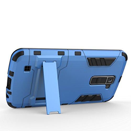 LG K10 Funda,2 y 1 armadura TPU Suave Bumper y PC Duro Back Cover Built-in Soporte Diseño Carcasa Case Funda para LG K10(Azul Negro) Azul