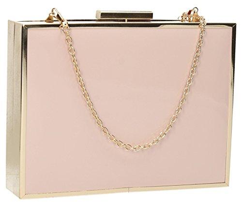 Kate Box Clutch Bag In Gold Metal & Patent Leather - Blush Pink (Box Pink Handbag)