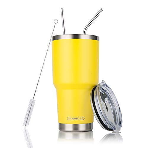 30oz Yellow Tumbler Stainless Steel Double Wall Vacuum Insulated Mug with Straw and Lid, Cleaning Brush for Cold and Hot Beverages