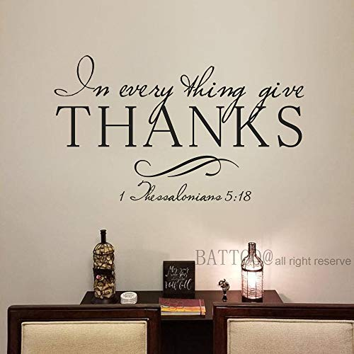 BATTOO in Everything Give Thanks with a Grateful Heart Bible Verse 1 Thessalonians 5:18 Christian Scripture Vinyl Lettering Decals Wall Words, 30