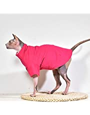 Sphynx Cat Clothes Winter Thick Cotton T-Shirts Double-Layer Pet Clothes, Pullover Kitten Shirts with Sleeves, Hairless Cat Pajamas Apparel for Cats & Small Dogs (S (3.3-5 lbs), Hot Pink)