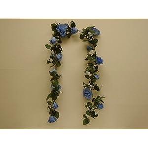 BLUE Roses Garland Artificial Silk Flowers 6 ft Vine 1029BL 95