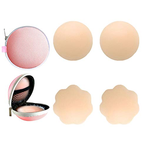 (2 Pairs Womens Reusable Adhesive Nipple Covers Invisible Round Silicone Cover (2 assorted))