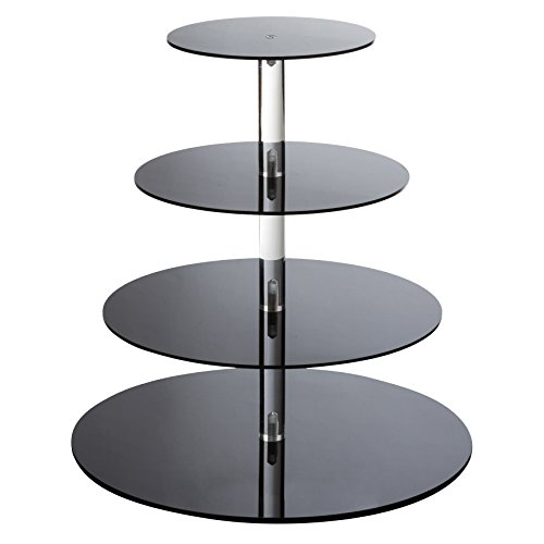 SinoAcrylic Cupcake Stand - 4 Tiers Round Cupcake Tower - Tiered Serving Dessert Cake Holder - Unique Black Exquisite Plate - Perfect for Wedding, Birthday, Party, Baby Shower and ()