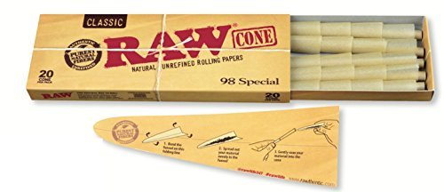 RAW Classic Natural Unrefined Pre Rolled Cones - 20 Cones Per Pack - 98 Special Size (1 Pack)