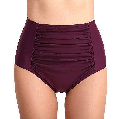 Joyaria Womens Retro Ruched Bikini Brief Bottoms Ruched Hipster Swim Bottoms (X-Large, High Waist-Purple) ()