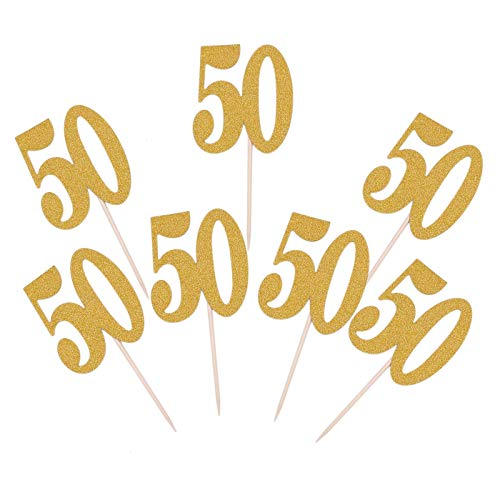 WSSROGY 30pcs Golden Glitter Number 50 Cupcake Toppers