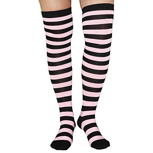 Womens Girls Long Striped Over Knee Thigh High