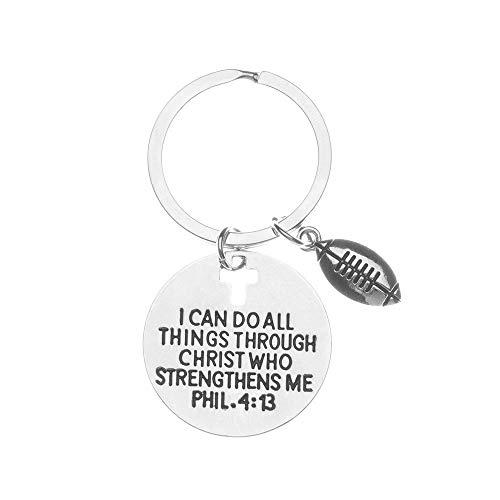 Football Charm Keychain, Christian Faith Charm Keychain, I Can Do All Things Through Christ Who Strengthens Me Phil. 4…
