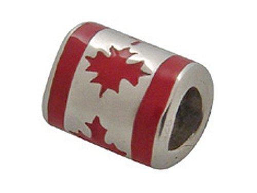 Zable Sterling Silver Canada Enamel Flag Pandora Compatible Bead/Charm