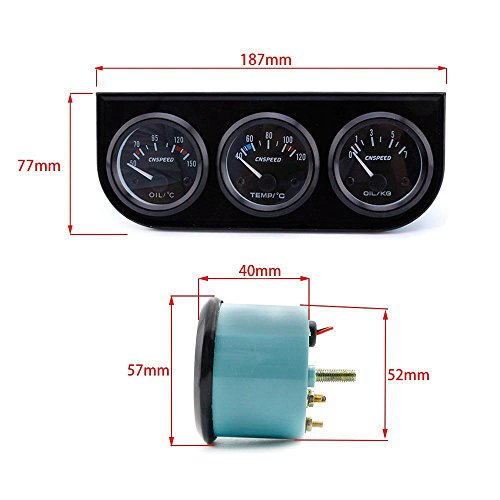 ExGizmo 52mm Triple Gauge 3 in 1 Voltmeter Water Temp Temperature Oil Pressure Car Meter Auto Sensor by ExGizmo (Image #6)