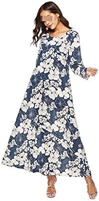 Vestido, Largo De Manga Larga Y Gran Tamaño con Cuello Redondo, Algodón Y Lino Estampado Europeo Y Americano (Color : Blue, Size : M): Amazon.es: Hogar