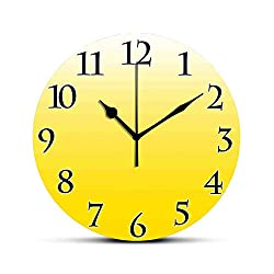 BCWAYGOD Ombre Silent Wall Clock Rising Happy Sun Inspired and Vivid Colored Modern Design Digital Artwork Print Desk Clock Round Unique Decorative for Home Bedroom Office 10in