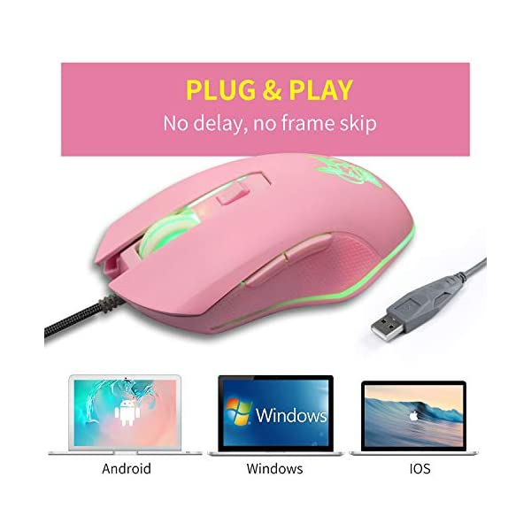 Pink Mouse Silent Click 7 Colors Backlit Optical Game Mice Ergonomic Wired With 2400 Dpi And 6 Buttons 4 Shooting For Pc Computer Laptop Desktop Usb