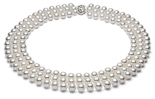 Sterling Silver Triple Strand White Freshwater Cultured Pearl Necklace AA+ Quality ()