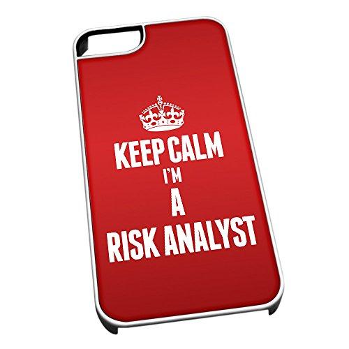 Bianco cover per iPhone 5/5S 2666Red Keep Calm I m A rischio Analista