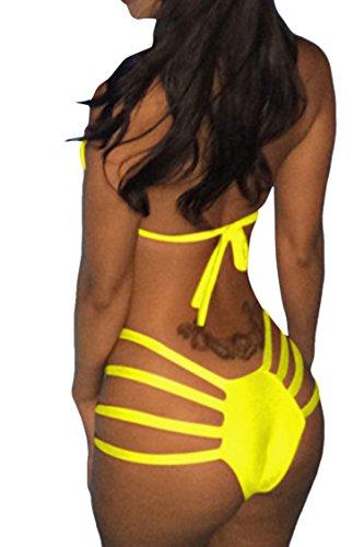 Donne Viottis Nuca Costume Triangolo Brasiliano Alla Benda Bikini Set Colore Bagno Nastro Ritaglio Giallo Delle Da Di SSw4OrPq