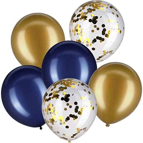 Jovitec 30 Pieces 12 Inches Latex Balloons Confetti Balloons for Wedding Birthday Party Decoration (Navy Blue and Metallic Gold) -