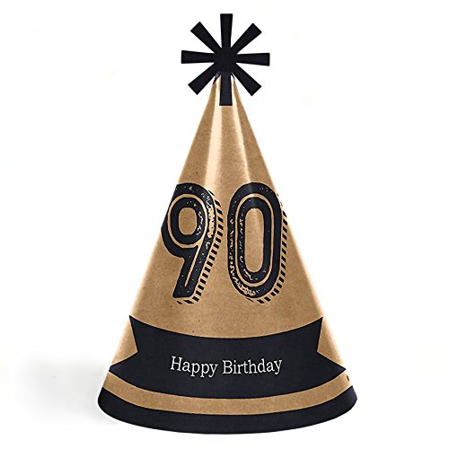 90th Milestone Birthday - Dashingly Aged to Perfection - Cone Happy Birthday Party Hats for Kids and Adults - Set of 8 (Standard Size) ()