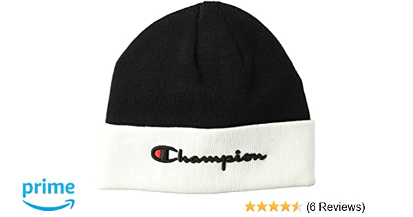 Amazon.com  Champion LIFE Men s Script Beanie da8a0e341e14