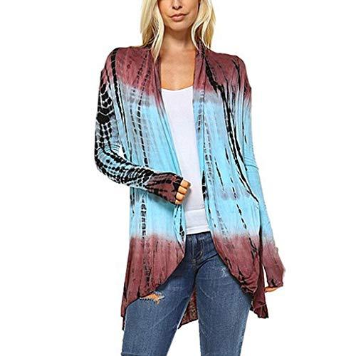 Sunhusing Women Gradient Color Tie-Dyed Printed Splicing Long Sleeve Cardigan Irregular Swallowtail Hem Top Blue