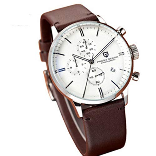L.HPT Men's Chronograph Wrist Watches Stopwatch with Black Dial Genuine Leather Strap Elegant Business Casual Style,C (Chronograph Leather Genuine)