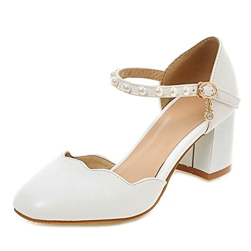 SJJH Sandals with Chunky Heel and Chunky Toe with 4-Colors and Large Size Casual Sandals Dressy Shoes White