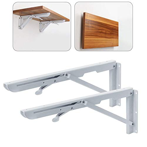 (Zengest Folding Shelf Bracket,Heavy Duty Stainless Steel Folding Shelf Support Max Load 100kg ,Space Saving for Desk Wall-Mounted, 16 × 6 in, White(Pack of 2))