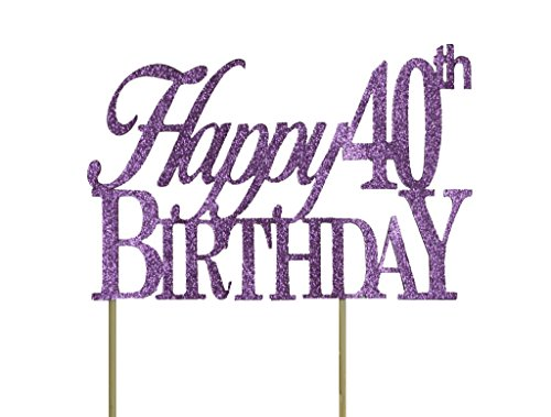 All About Details Purple Happy-40Th-Birthday Cake Topper ()