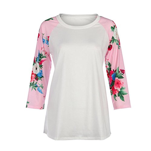 Price comparison product image Bokeley Women Blouse,  Casual Crew Neck 3 / 4 Sleeve Floral Print Plus Size Shirts Tops (XL,  Pink)