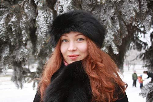(Woman's Real Fox Fur Headband Winter Hat (Black) )