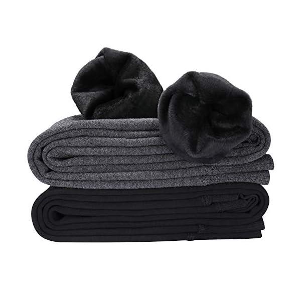 Legging Chaud Femme Hiver, 2 Paires Collants Leggings Thermique Velours Automne Extensible Pantalon, Noir + Gris Foncé