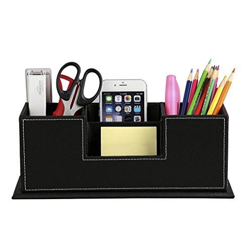 Clobeau Office Products Multi-Purpose Leather Pen Holder Case Pencil Cup Box Cellphone Stapler Business Cards Holder…