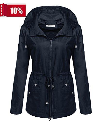 ANGVNS Women's Waterproof Lightweight Rain Jacket Anorak With Detachable (Womens Anorak)