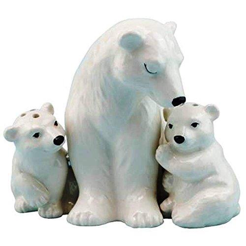 (Westland Giftware Mother & Baby Polar Bears Magnetic Ceramic Salt & Pepper Shaker Set, Multicolor)