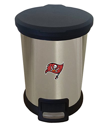 (The Furniture Cove New 1.3 Gallon Round Stainless Steel Step Trash Can Waste Basket Featuring Your Choice of a Football Team Logo (Buccaneers) )