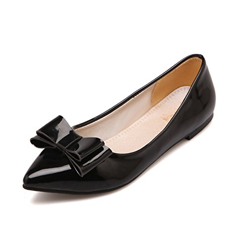 100FIXEO Black Women Pointy Toe Cute Bowknot Comfort Slip On Ballet Flats Shoes Size 7.5 (B) M US