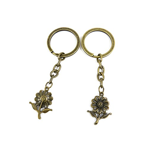 Sunflower Clasp - 2 PCS Keyrings Keychains Key Ring Chains Tags Jewelry Findings Clasps Buckles Supplies P3FF6 Sunflower