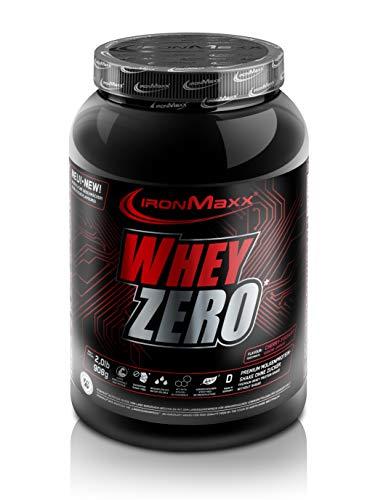 IronMaxx Whey Zero Protein – 908g Pulver – 18 Portionen – Kirsche Joghurt – Molkenprotein mit 97 % Whey Anteil…